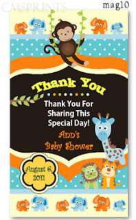 50 Baby Shower Party JUNGLE MONKEYS MAGNETS Party Favors UNIQUE custom