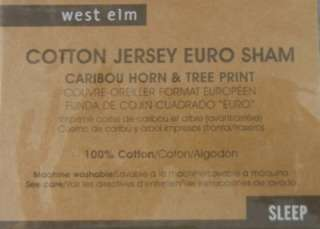 ELM PRINTED JERSEY EURO SHAMS FEATHER GRAY CARIBOU HORNS/TREE