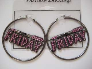 NICKI MINAJ PINK FRIDAY HOOP EARRINGS BLACK PINK PF#1