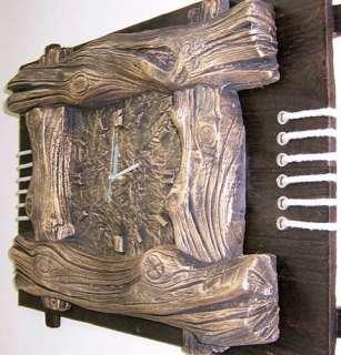 Large 3D Tree Trunk Log Wooden Art Wall Clock NEW