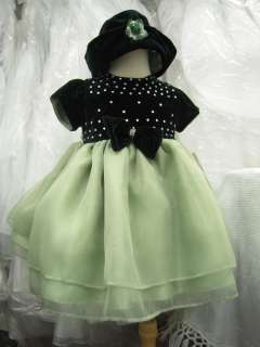 new baby girl pageant christmas GREEN dress with hat 24 months