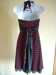 Super Cute Black & Red Polka Dot Halter Cocktail Evening Dress Size M
