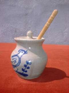 Stoneware Honey Pot with Lid Blue Decorated Bird