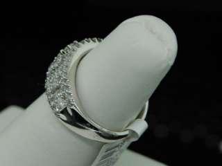 LADIES WHITE GOLD DIAMOND WEDDING BAND RING 1.51CT PAVE