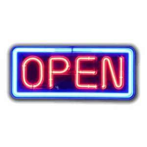 Neon Open Sign   Blue Border & Red Letters Office Products