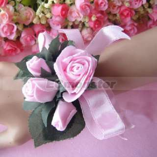 Elegant Pink Rose Flower Wedding Bridal Bridesmaids Wrist Corsage