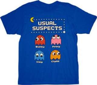 Pac Man Usual Suspects Ghosts Blue Tee T shirt Clothing