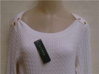 Button Shoulder Cable Ralph Lauren Polo Womens XL Thin Sweater