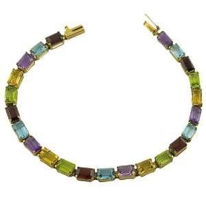 Multi Gemstone 14 Karat Yellow Gold 6.75 Inch Tennis Bracelet Jewelry
