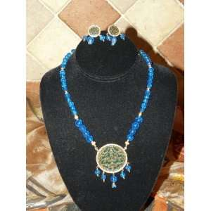 com Traditional Jewelry Blue Beaded Gold Plated Ethnic Thewa Necklace