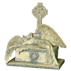 Gothic Weeping Angel Lying on a Casket Fantasy Sculpture