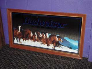 Budweiser Beer Mirror Clydsdale Horses Horse Bar Pub Sign #102 251