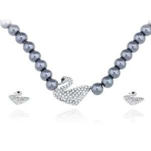 Faux Black Pearl Pure Swan Family Swarovski Crystal Element Earring