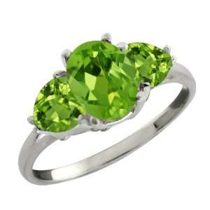Ct Genuine Oval Green Peridot Gemstone Sterling Silver Ring Jewelry