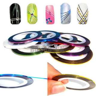 NEW 10 COLOR ROLLS STRIPING TAPE LINE NAIL ART STICKER UK