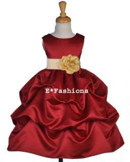 APPLE RED CHAMPAGNE WEDDING BRIDAL FLOWER GIRL DRESS 6 9M 12 18M 2 4 5