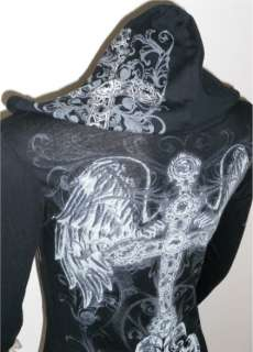 BLACK CRYSTAL CROSS FLEUR ANGEL WINGS TATTOO HOODIE T SHIRT & ED HARDY