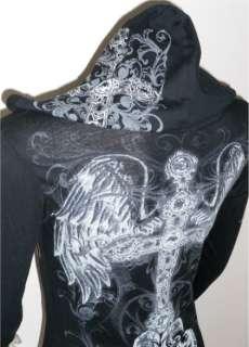 BLACK CRYSTAL CROSS FLEUR ANGEL WINGS TATTOO HOODIE T SHIRT & ED HARDY