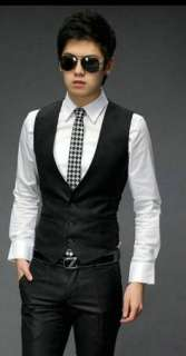 2011 Mens Fashion New Korean Slim Fit Vest Gray 2456