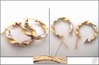 o1674   BRAND NEW 18K SOLID 3 TONE GOLD HOOP EARRINGS DIAMETER 20 MM