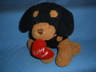 Cute Puppy Love Heart Dog Plush Valentines black brown