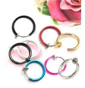 13mm spring Clip on hoops earrings 8 color mens ladys