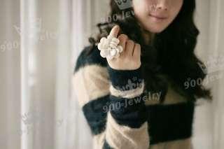 Big Cream Camellia Flower Faux Pearl Finger Ring Sz 5 Adjustable Lady