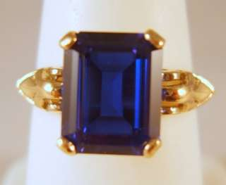 Vintage 10K Yellow Gold 3ct Blue Sapphire Ring 3.6 Grams Size 6.5 No