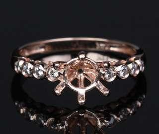 14K ROSE GOLD Bezel DIAMOND SEMI MOUNT Engagement RING Settings