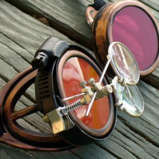 Steampunk Goggles Glasses cyber lens goth D copper red