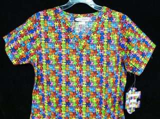 Scrub Top Autism Awareness Puzzle Piece Scrubs XL New 852293087950