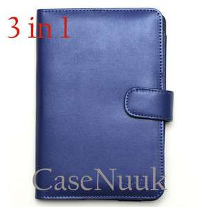 Blue Kindle Fire Leather Folio Case Cover w/scr proector&stylus