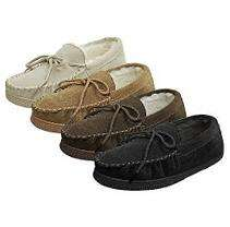 Boston Traveler Mens Faux Suede Moccasin Slippers   Various Colors