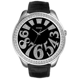 GUESS WATCH BLACK LEATHER STRAP,CRYSTALS G85850L NEW