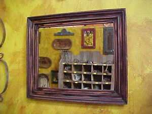 Rustic Mirror Primitive Antique Frame Vintage 25x22