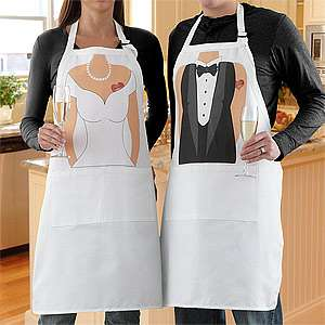 Bride & Groom Personalized Wedding Apron Set  For the Home Dishes