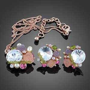 18K gold Gp Swarovski Crystal rose jewelry set 829