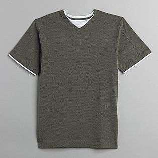 Mens Big & Tall Short Sleeve 2fer V Neck Solid T Shirt  Basic
