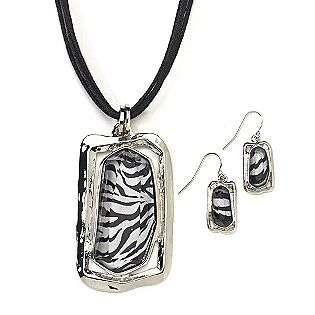 Silvertone, Black, White Square Zebra Print Pendant on Cord with