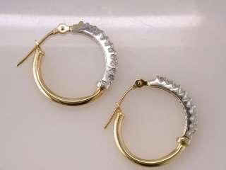Genuine Diamond .25ct Two Tone Gold Hoop Earrings Jewelry