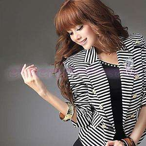 Fashion Lady White & Black Stripe Blazer Jacket Coat NW
