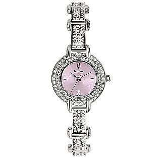 Crystal Watch Watch With Pink Pearlized Dial. Silver tone  Bulova