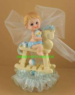 BOY ROCKING HORSE Baby Shower CAKE TOPPER Organza