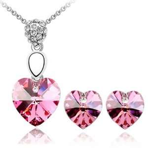 Crystal Heart 18k Gold Plated Heart Shaped Swarovski Crystal Pendant