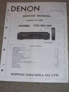 Denon Service/Operation Manual~DCD 860/660 CD Player