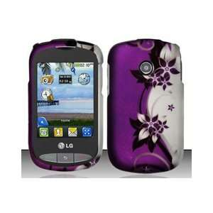 LG 800g (TracFone) Purple/Silver Vines Design Hard Case