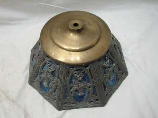 EARLY BLUE SLAG STAINED GLASS LAMP LIGHT SHADE