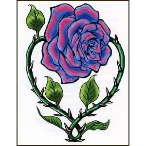 Pink & Blue Rose W/Thorns Temporaray Tattoo: Toys & Games