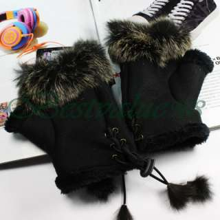 Fingerless suede leather gloves with genuine rabbit fur which serves
