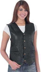 Ladies Genuine Leather Motorcycle Vest, Black,
